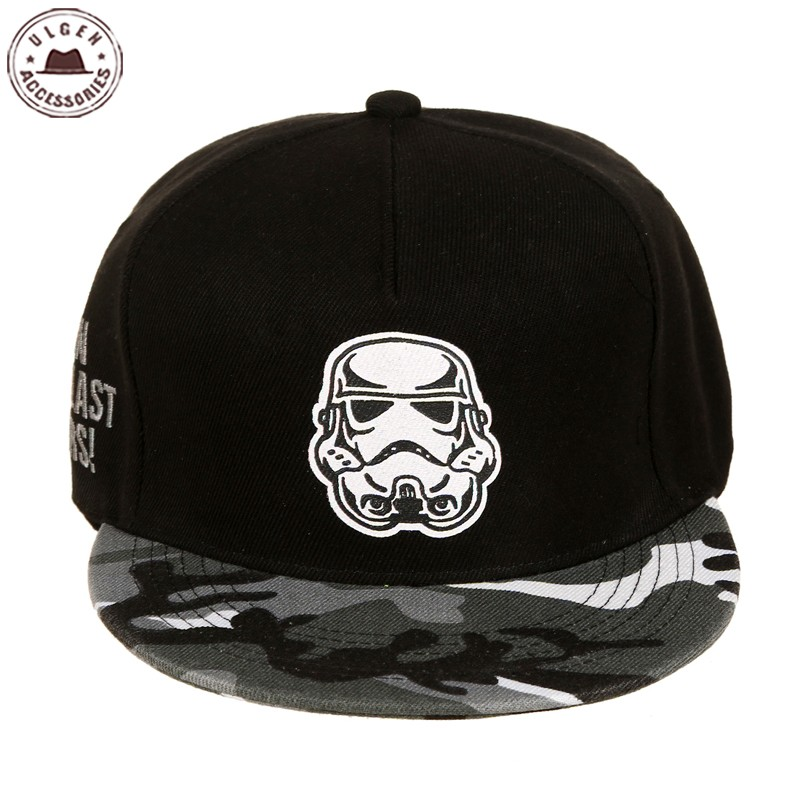 New Fashion Cotton Brand Star Wars Snapback Caps Cool Camouflage Trucker Brev Baseball Cap Bboy Hip-Hop Hattar För Män Kvinnor