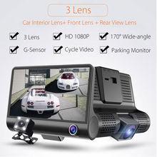 "Big sale 4"" 1080P HD 170 angle 3 Lens Car DVR Dash Cam G-sensor Recorder +Digital Car Video Rearview Camera Dual Lens Parking Monitoring"