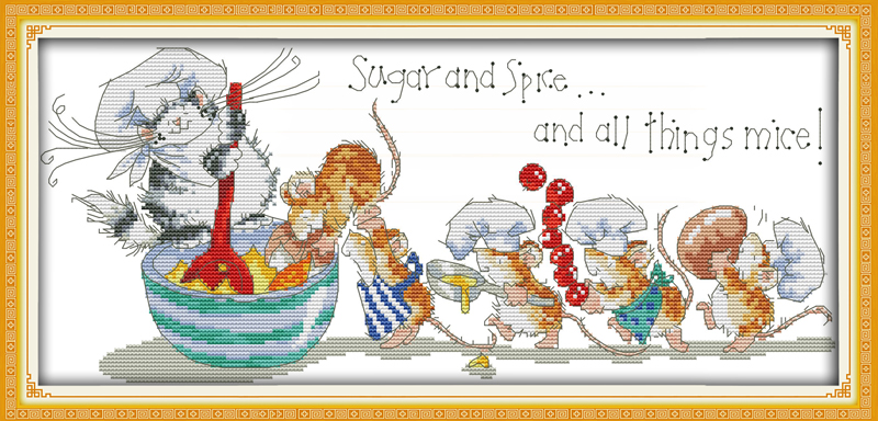 Mice saucing food cross stitch kit cartoon 14ct 11ct count print canvas stitching embroidery DIY handmade needlework