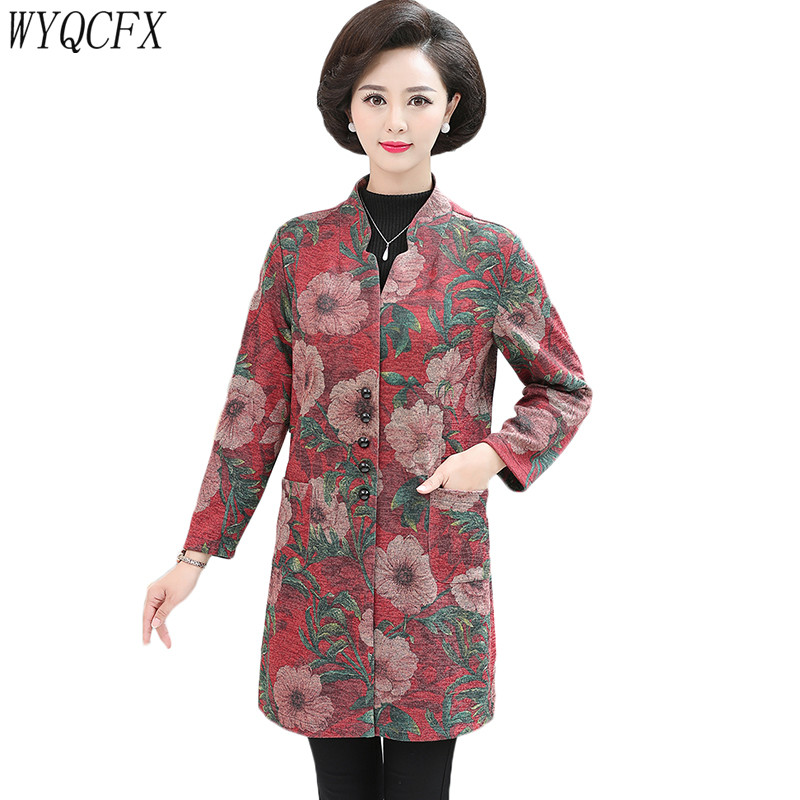 Plus size 5XL   Trench   coat Women single-breasted print Long slim Outwear Middle-aged Autumn Elegant Fashion casual Windbreaker