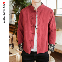 China style jackets men 2019 spring pankou Red coats man Retro sleeve embroidery solid thin jackets plus size M 5XL A026 552
