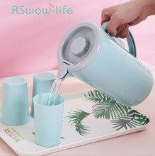 5Pcs Large Capacity Household Water Cup Plastic Heat Resistant High Temperature Juice Pot White Bottle Set Jug For Home