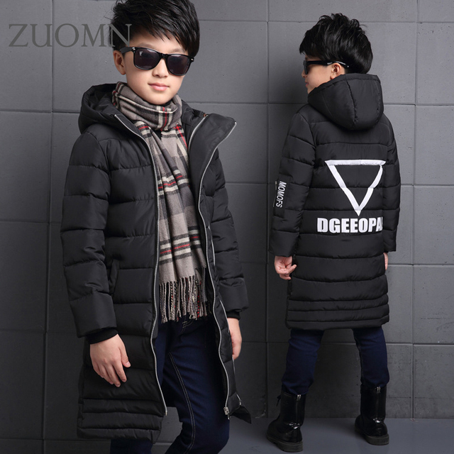 Winter boys thicken hooded cotton padded jacket overcoat kid long quilted coat children outwear kids winter warm snow coat YL300