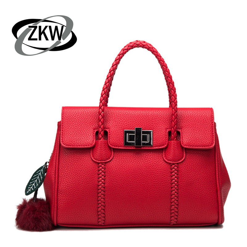 ZKW Genuine Leather Women's lychee Handbag One Shoulder Cross-Body Women's Bags Fashion Platinum Wrist Length Women's