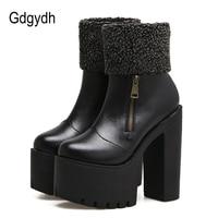 Gdgydh Fashion Zipper Autumn Winter Shoes Platform Women Slip Resistant Female Ankle Boots High Heels Leather