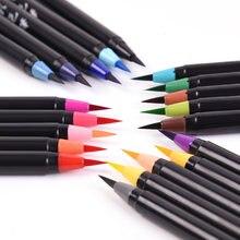 Разноцветная ручка с мягкой щетиной кисть головкой для каллиграфии
