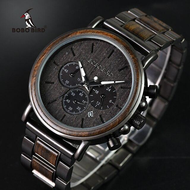 BOBO oiseau bois montres hommes chronomètre relojes hombre montrer Date montre-bracelet en bois montres hommes dans une boîte cadeau 3