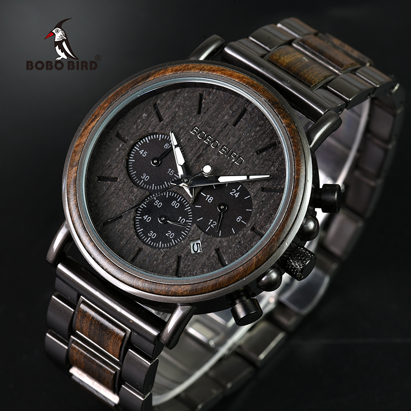 Image 2 - BOBO BIRD Wood Watch Men Stopwatch Chronograph relojes hombre Show Date Wooden Quartz Wristwatch Male Timepieces In Gift Box-in Quartz Watches from Watches