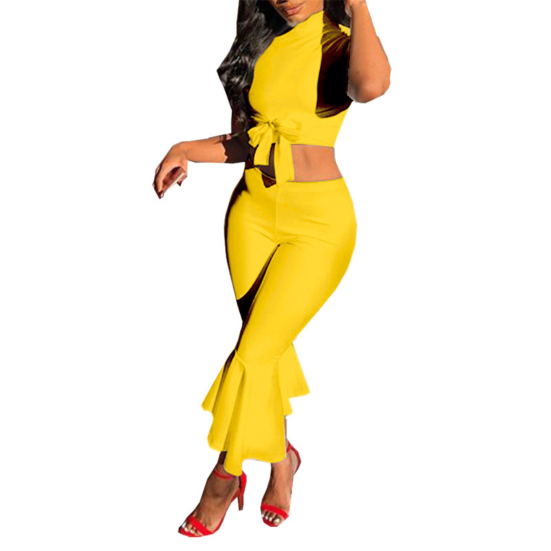 JENYAGE 2 Piece Set Women Crop Top And Pants Summer Sexy High Waist Bodycon Party Dancing Yellow Two Piece Pants Sets 2020