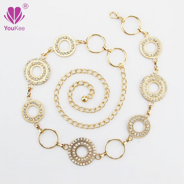 Big Circle Rhinestone Women's Belt Summer Dress Cinto Feminino Gold&Silver Plated Belts For Women(BL-693) YouKee Jewelry