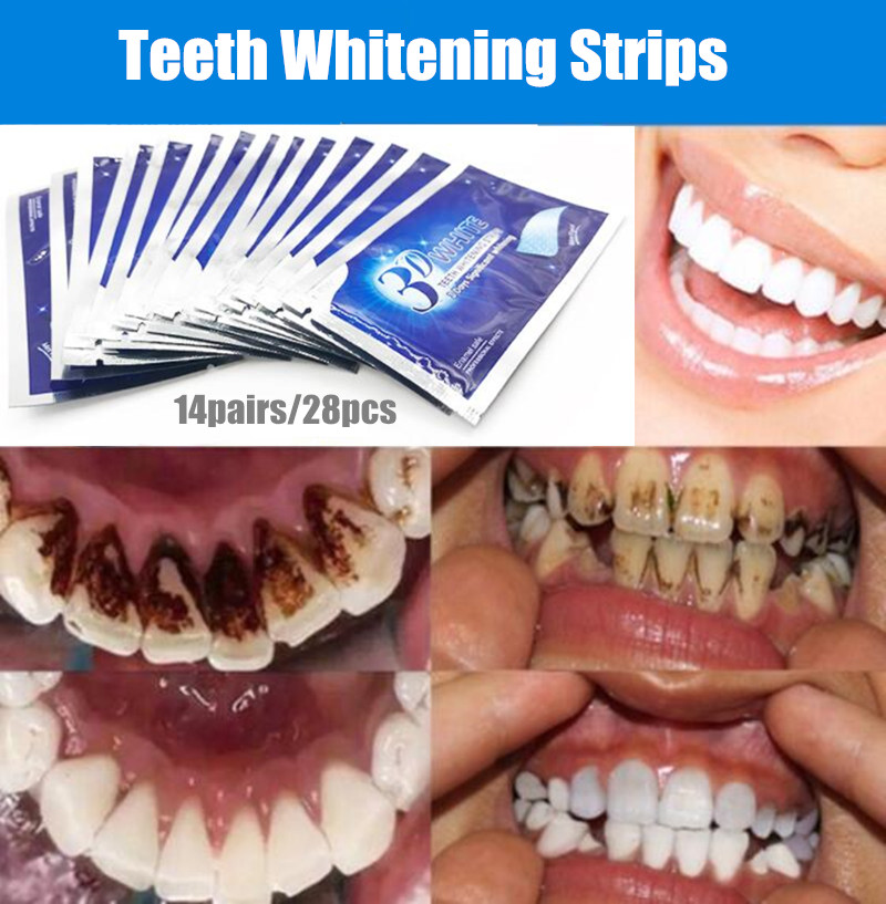 28 pieces / 14 Par Gel 3D White teeth whitening strips Oral hygiene care  double elastic teeth whitening strips tools Dental bleaching