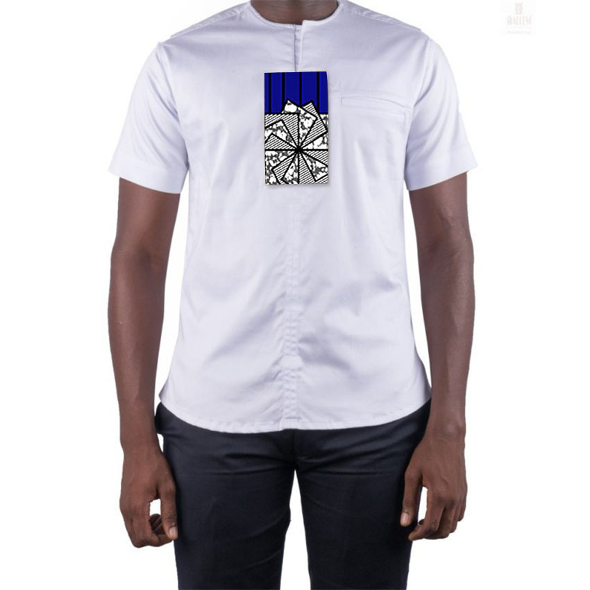 Espressive Manica Corta Da Uomo Camicia Africano Nigeriano Nativo Bianco Pullover Camicette Guinea Del Partito Di Cerimonia Nuziale Di Usura Lungo Colletto Top Per I Ragazzi Pacchetto Elegante E Robusto