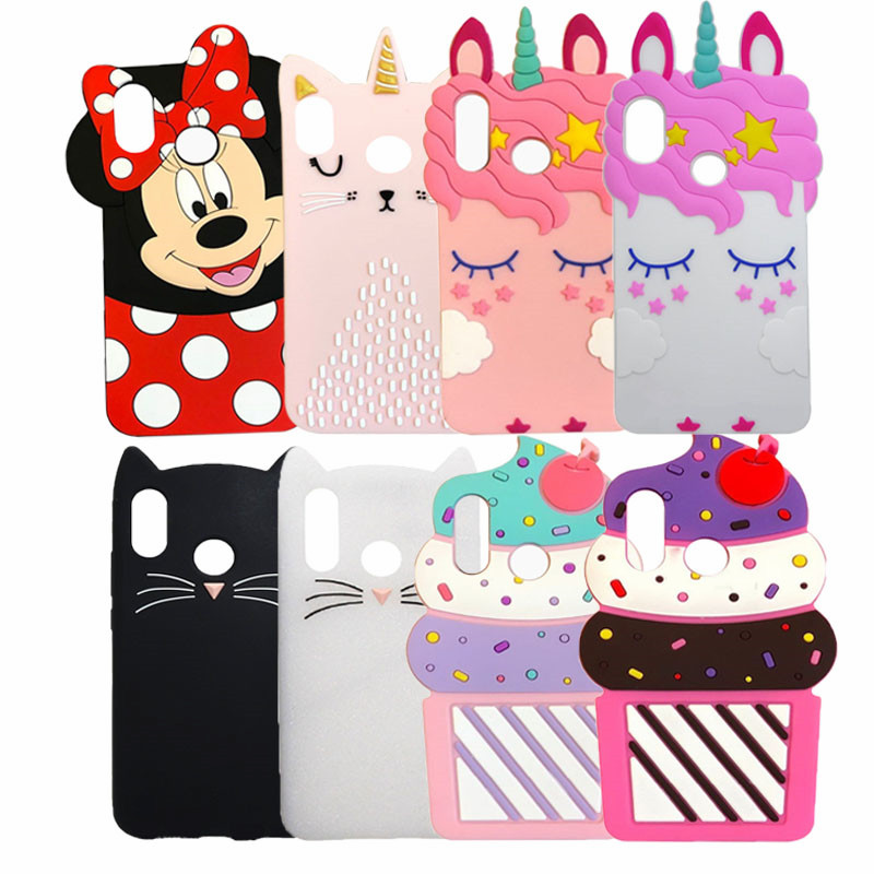 "3D Cute Cartoon unicorn Cat Cupcake Silicone phone Cases For Xiomi Redmi Note 5 Case Redmi Note 5 Pro 5.99"" Cover Rubber Coque"