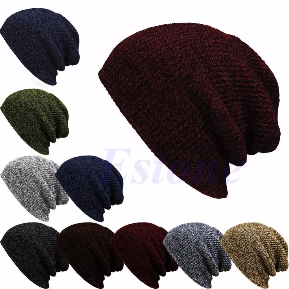 8f98eaed0b8 Winter Casual Cotton Knit Hats For Women Men Baggy Beanie Hat Crochet Slouchy  Oversized Ski Cap Warm Skullies Toucas Gorros-Y107