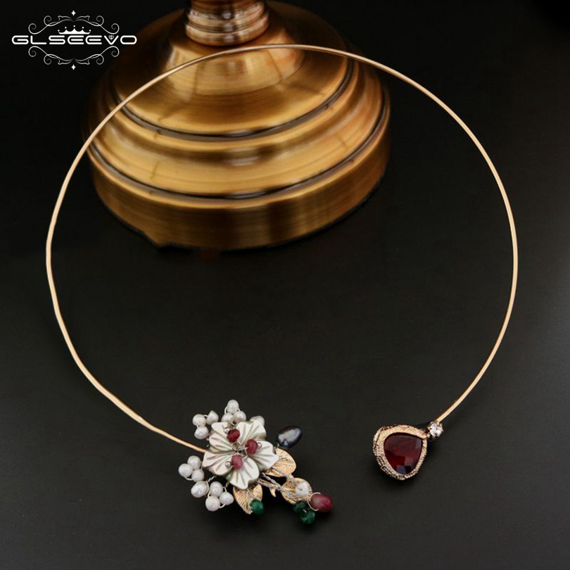 GLSEEVO Natural Fresh Water Pearl Shell Flower Choker Necklace For Women Wedding Adjustable Necklace Luxury Fine Jewelry GN0070