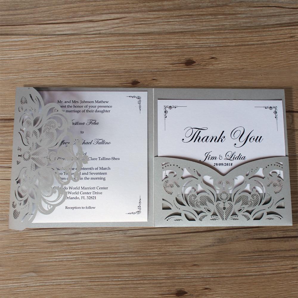 Silver Laser Cut Wedding Invitations