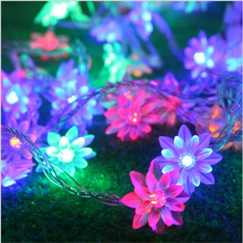 AC220V 10M 100 LED Lotus Flower lamps String Fairy lights for Indoor and Outdoor Wedding/Christmas party