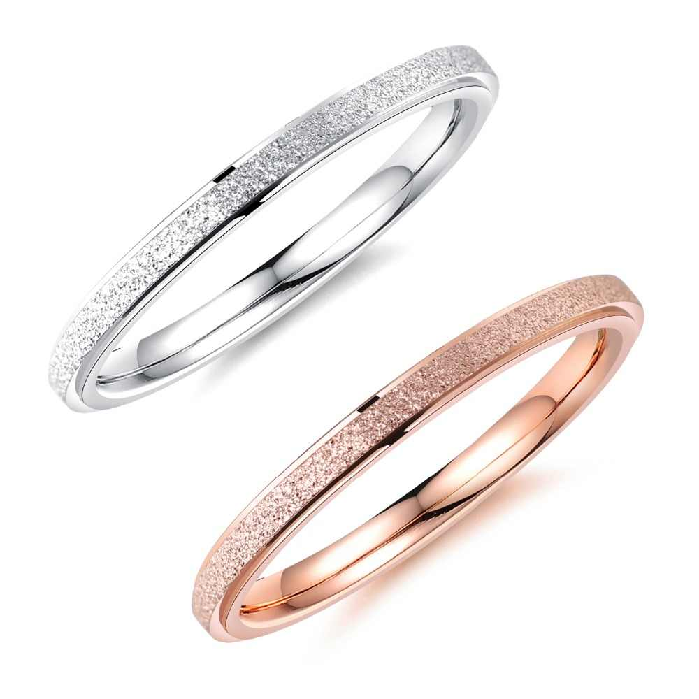 New Fashion White/Rose Gold Stainless Steel Women's Ring Office Style Scrub Female Tail Ring Jewelry Gift JZ053