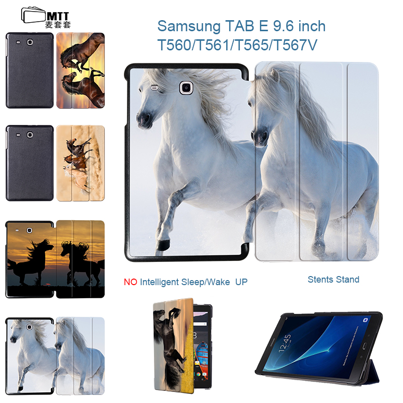 MTT Akhal-teke Horse Print Tablet Case For Samsung Galaxy Tab E T560 T561 T565 T567V 9.6 inch Tablet Case Stand Leather Cover ...