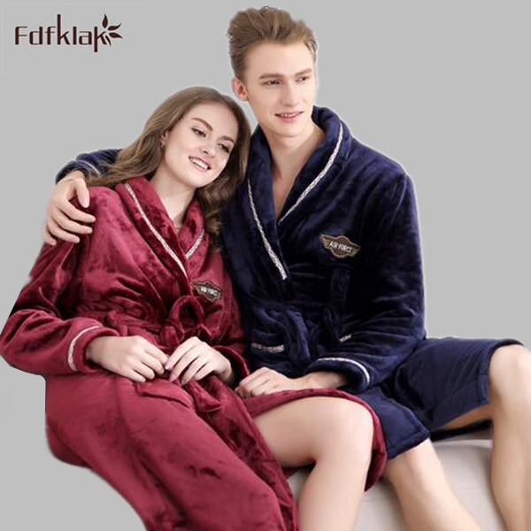 Flannel Couples Bathrobes Ladies Pyjamas Winter Dressing Gowns For Women Male Female Sleepwear Kimono Robe Plus Size L-2XL