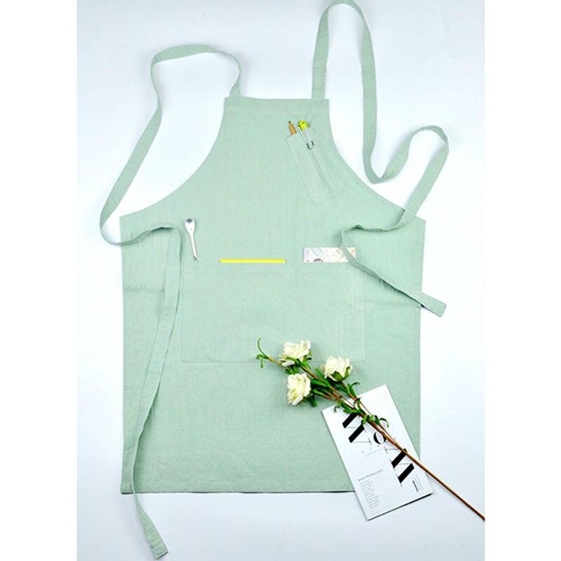 Full Length 4 Colors Cotton Apron Barista Cafe Bartender Chef Bistro Uniforms Waitress Painter Gardener Barber