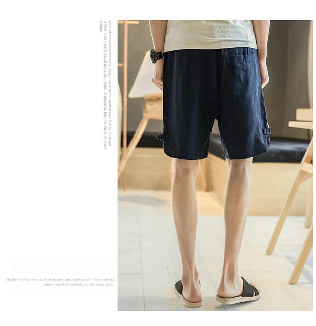 4XL 5XL plus size male home shorts night shors loose vintage linen straight five pants night bottoms