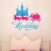 G073 Personalizada Nombre del Castillo de La Princesa Bebé Caballo Del Carro Pegatinas de Vinilo de Pared Tatuajes de Arte Mural para Niños Habitación Home decoración