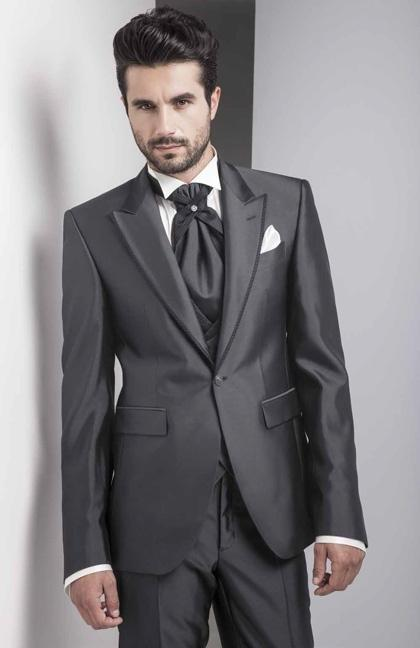 Newest Groom Tuxedo Shiny Charcoal Groomsmen Peak Lapel Wedding/Dinner Suits Best Man Bridegroom (Jacket+Pants+Tie+Vest) B473