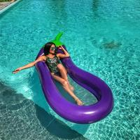 Summer Swimming Pool Floating Inflatable Eggplant Mattress Swimming Ring Circle Island Cool Water Party Toy boia piscina ChildR