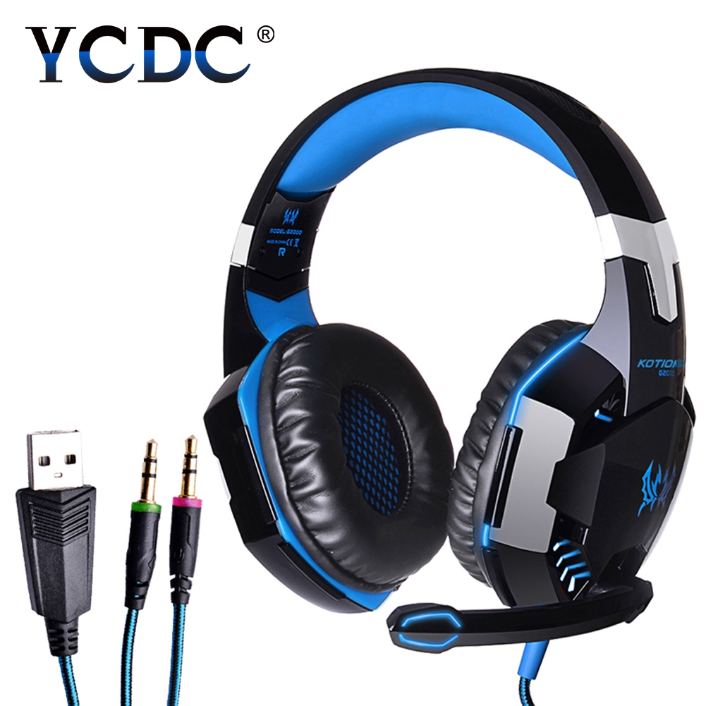 KOTION EACH G2000 casque Computer Stereo Gaming Headphones Deep Bass Game Earphone Headset Gamer with Mic LED Light for PC Game 2017 hoco professional wired gaming headset bass stereo game earphone computer headphones with mic for phone computer pc ps4