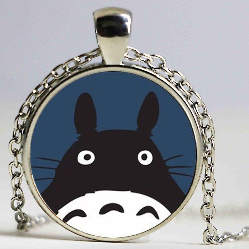 2 58 6 De Réduction Breloque Ronde Mignon Kawaii Dessin Animé Japonais Mon Voisin Anime Totoro Verre Photo Pendentif Collier Pour Fille Animal