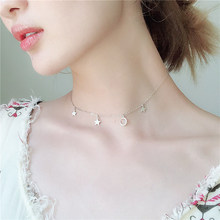 Temperament Crescent moon Moon Star Necklace For Women New Short Clavicle Chain Female Fashion Simple Birthday Necklaces Jewelry