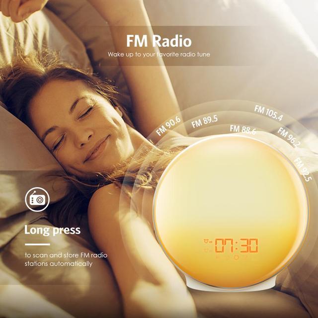 Obudź światło Sunrise budzik lampa atmosfera lampka nocna zegar cyfrowy z radiem FM symulacja wschodu/zachodu słońca do sypialni