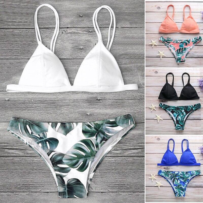 Sexy Bikinis 2019 Mujer Cami Palm Leaf Print Women Bikinis Ling Swimwear Women Push Up Bikini Set Swimsuit Women Bathing Suit