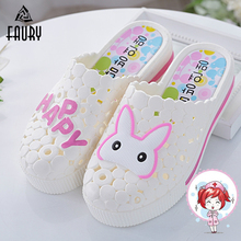 2019 Cute Nurse Shoes Summer New Medical Slippers Rabbit High Heel Sandals Thick Sole Hole Shoes White Female Hospital Acsesoriy