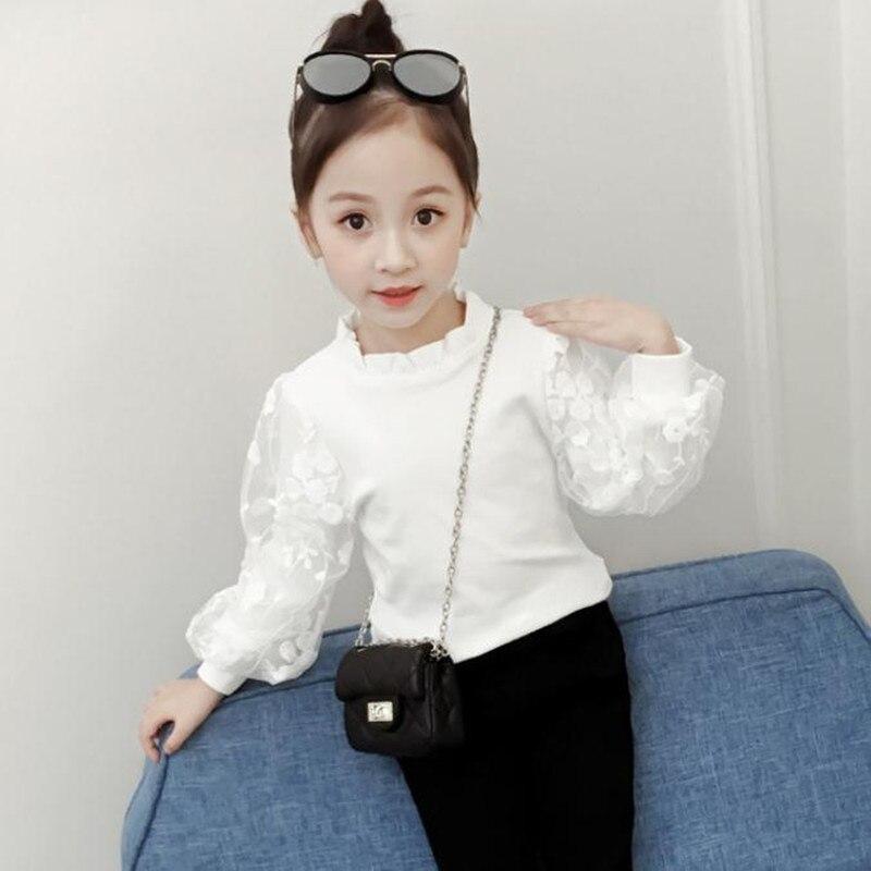 dadc118db09b DFXD/2019 г. Новые весенние Рубашки для больших девочек белые кружевные  рубашки с буфом на рукавах для принцессы топы для девочек, прекрасный пу.