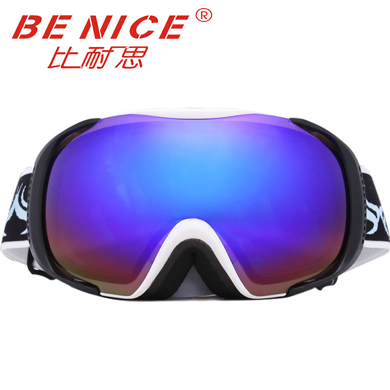 ФОТО Benice brand Cool Snow Goggles Windproof 100% UV 400 Motorcycle Snow Ski Goggles double lens Sports Protective Safety eyewear