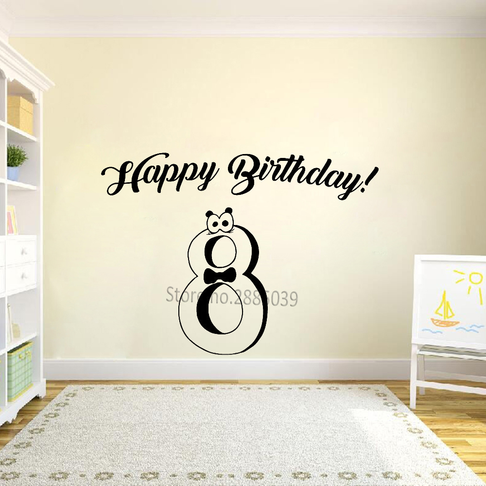 Us 1 98 25 Off Hot Hy Birthday Vinyl Decor Wall Decals Eight Years Old Stickers Cute Party Decal Celebration Art Decoration Lc894 In