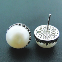 White natural pearls earrings for women size 12.5mm in 925 Sterling Silver