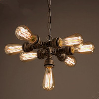 Edison Water Pipe Pendant Light Fixtures With 7 Lights Vintage Retro Loft Industrial Lamp Hanging Light