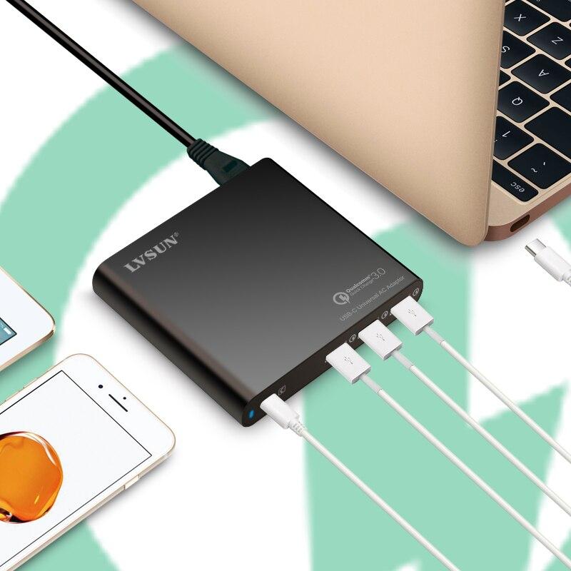 LVSUN universel QC3.0 USB C chargeur USB-C adaptateur pour ordinateur portable avec 3 USB A chargeur rapide pour Macbook HP Spectre 13 Yoga 5 Lenovo DELL - 3