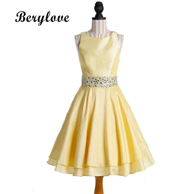 Berylove Cute Short Yellow Taffeta Prom Dresses 2018 Beaded Prom