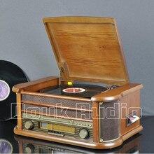 2017 New Music Hall Stereo Turntable LP Vinyl Record Player Tape&CD&U-disk&AM/FM Radio&AUX&USB Audio 220V