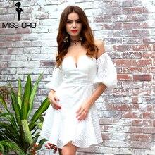 Missord 2017 мода v-образным вырезом с рукавами-фонариками платье FT8222
