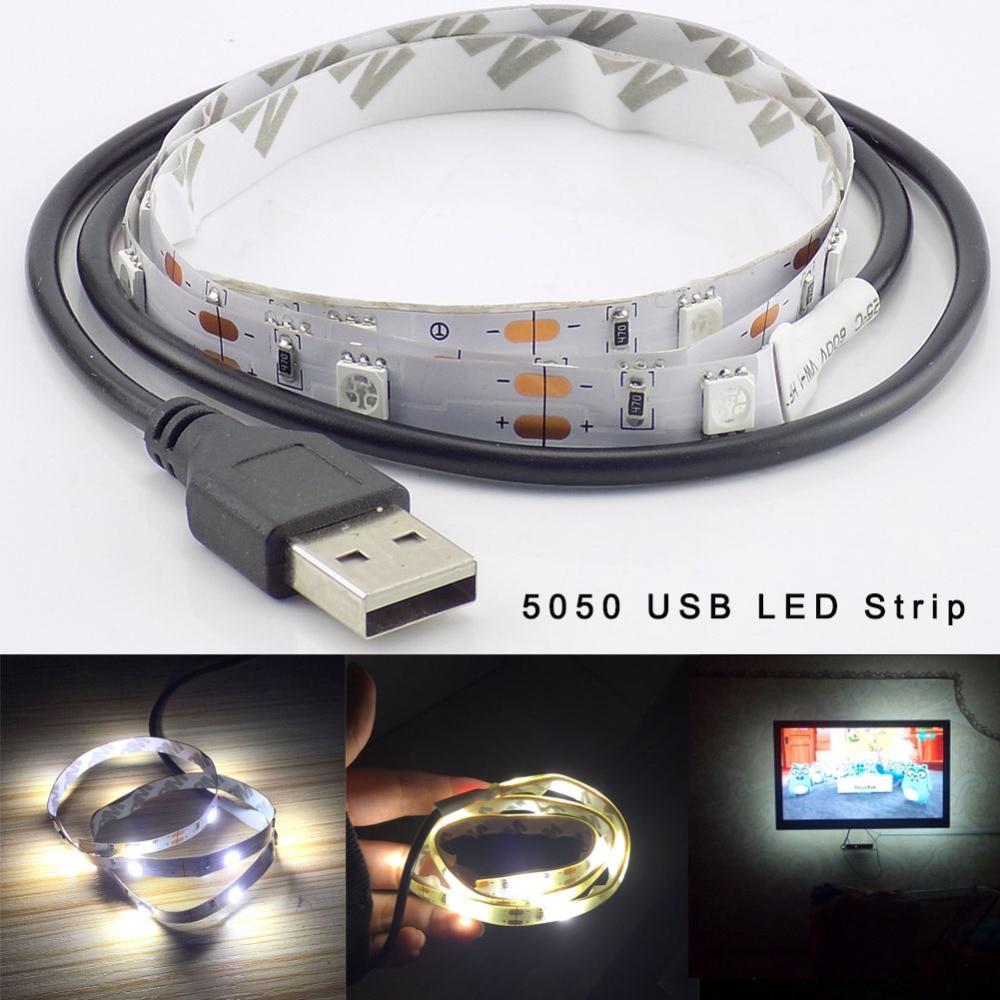 DC 5V USB LED strip light 5050 Party Flexible Ledstrip Stripe lamp TV Background warm white lighting waterproof 50CM 1M 2M 1.5M