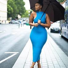 Одежда высшего качества синий без рукавов по колено район бинты платье для коктейля вечерние облегающее платье