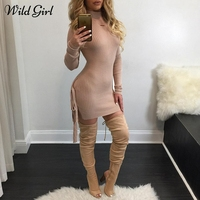 Lace Up Knitting Women Sweater Dress Spring Slim Bodycon Sweater Dress Female Long Sleeve Mini Dress