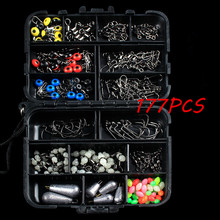 177pcs Multifunctional Fishing Tackle Box Float Luminous Beads Anchor Hook Lead Sinker Connector Accessories Kit