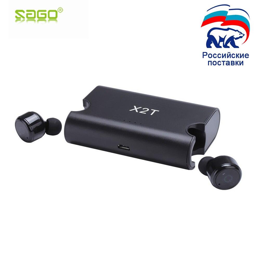 Sago X1T/X2T mini drahtlose kopfhörer noise cancelling-kopfhörer bluetooth headset mit 1500 mah power bank box für iphone 8 /android