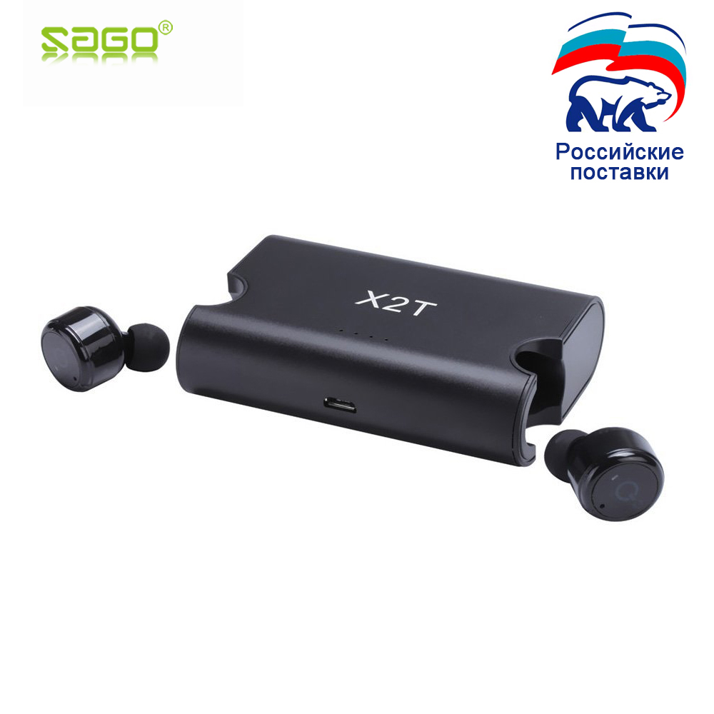 Sago X1T/X2T mini inalámbrico auriculares de cancelación de ruido Auriculares auriculares bluetooth con 1500 mAh Banco de la energía de caja para iphone 8 /android